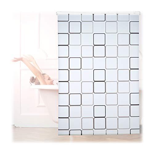 Relaxdays Duschrollo Square, wasserabweisend, Retro Badrollo Wanne u. Dusche, Deckenmontage, 140x240cm, semitransparent
