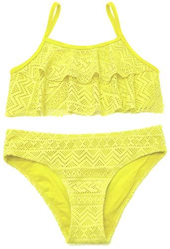 SHEKINI Mädchen Zweiteiler Bikini Badeanzug Teenager Bademode Spitze Schwimmanzug Tankini Set (Small, Gelb)