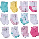 Onesies Brand Baby 12-Pair Bootie Socks, Cat Crew Socks, 0-6 Months