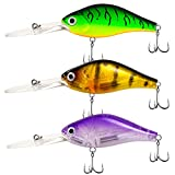 Basskiller 3pcs Deep Diving Crankbait,Bass Fishing Lure,Round Bill Silent Crankbait Lures,Strong Sharp Hooks Fishing Tackle, Premium Coating Floating Lures Freshwater Saltwater for Walleye, Trout
