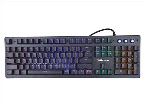 Riseon X1 Mechanical Feel Gaming Keyboard with Full Aluminium Body & Rainbow LED, Anti-Ghosting (Black)