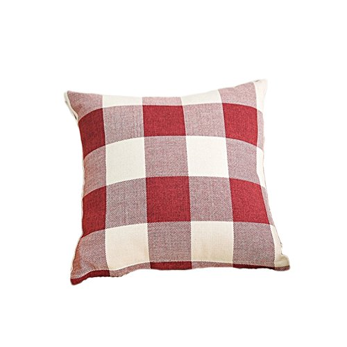 MSYOU Almohada Lino Almohada Funda de cojín Decorativo para sofá Cama Jardín Auto Home 45x 45(sin Almohada Núcleo), Lino, Rojo, 45 * 45cm