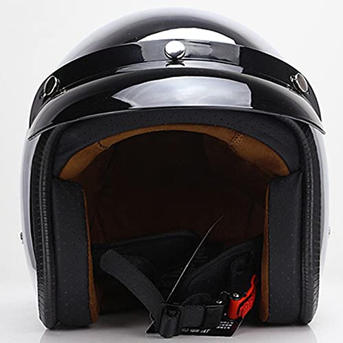 Medio casco de motocicleta Cascos abiertos retro Moto ciclomotor Jet Bobber Pilot Crash 3/4 medio casco Espejo Plata Cromado con visera solar Aprobado ECE,C,S