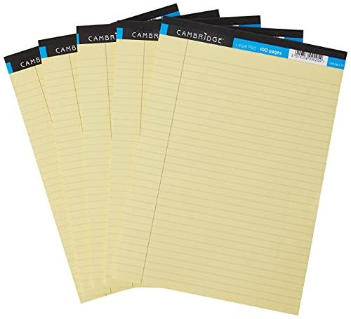 Cambridge A4 Pad legale, Quaderno a righe , Giallo, 100 pagine, confezione da 5 pezzi