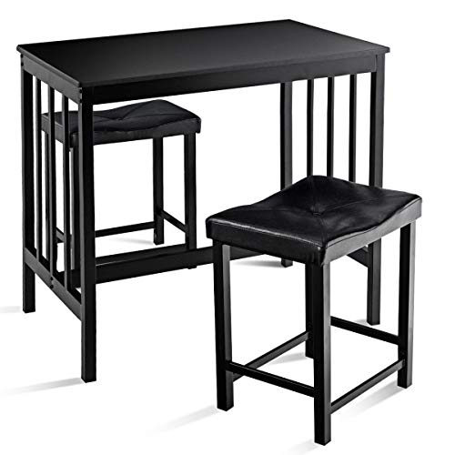 USA_Best_Seller 3 pcs Black Elegant Luxury Stylish New Modern Counter Height Dining Set Table and Chair Furniture Kitchen Living Room Dining Room Indoor Home