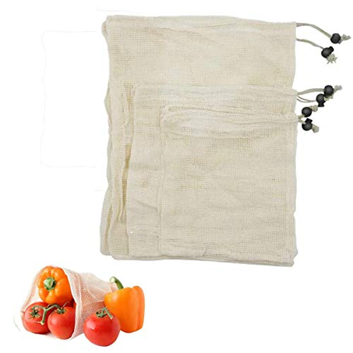 AmazeFan Gemüsebeutel, Gemüsebeutel Baumwolle kyerivs gemüsebeutel- 7er Set, Umweltfreundliche Nachhaltige Einkaufsbeutel, Leichte Durchsichtige Brotbeutel