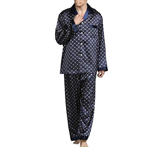 Los hombres de Servicio al Hogar Pijamas Traje de Manga Larga Impreso Servicio al Hogar de Seda Completa ropa de dormir Otoño Hombres Pijamas