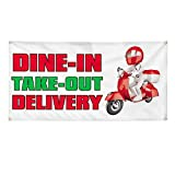 Vinyl Banner Multiple Sizes Dine-in Take-Out Delivery Restaurant & Food Outdoor Weatherproof Industrial Yard Signs White 4 Grommets Design Only 24x48Inches