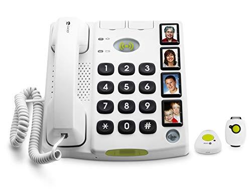 Doro Secure 347 Schnurgebundenes Großtastentelefon mit 4 Direktwahl-Fototasten inkl. 2 mobilen Notrufalarmgebern, weiß