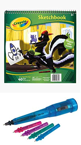 Hart and Crayola Squiggle Bundle Contains 1 Squiggle Wiggle Writer, Multicolor and 1 Crayola Sketchbook 9'X9', 40 Sheets,