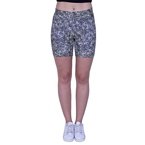YOGAIR Ultra Soft Printed Shorts for Women Workout Yoga Capri Athletic Tummy Control Shorts Size (Medium)