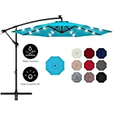 Best Choice Products 10ft Solar LED Offset Hanging Outdoor Market Patio Umbrella w/Easy Tilt Adjustment - Sky...