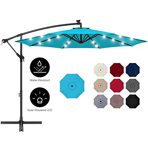 Best Choice Products 10ft Solar LED Offset Hanging Outdoor Market Patio Umbrella w/Easy Tilt Adjustment - Sky Blue
