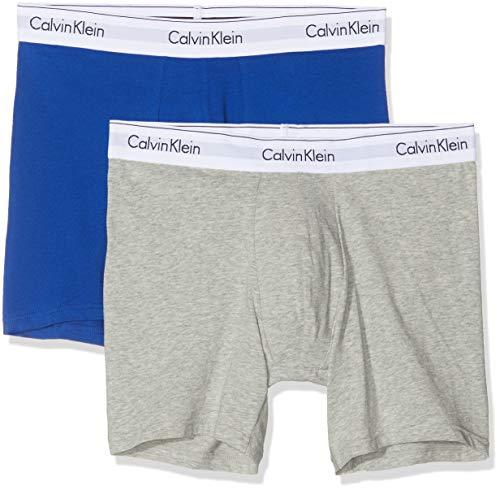 Calvin Klein Boxer Brief 2pk, Gris (Grey Heather/Surf The Web Skj), Medium (Pack de 2) para Hombre