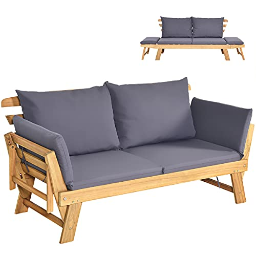 COSTWAY Outdoor Sofa Bed, 3 in 1 Convertible Cushioned Loveseat Lounger Couch with Folding Armrests and Pillows, Garden Patio Yard Wooden Recliner Chair Daybed (Dark Grey)