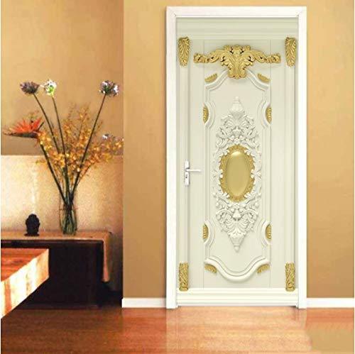 ZPCR Luxury Home Decor Door Sticker European Style Golden Flowers 3D Mural Wallpaper Living Room Bedroom 3D Self-Adhesive Door Poster