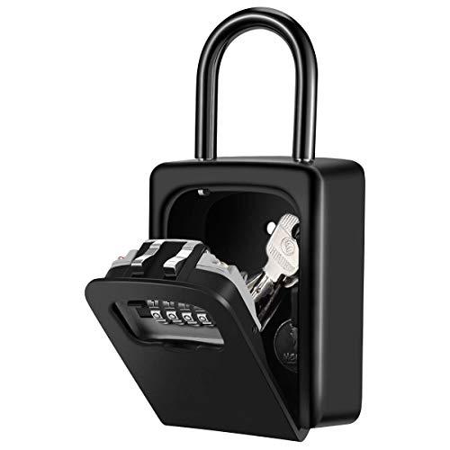 Hon&Guan 鍵収納ボックス キー ボックス 南京錠 ダイヤル式 4桁 鍵の保管・受け渡しに安全 大型サイズ (ダイヤル式・ブラック)