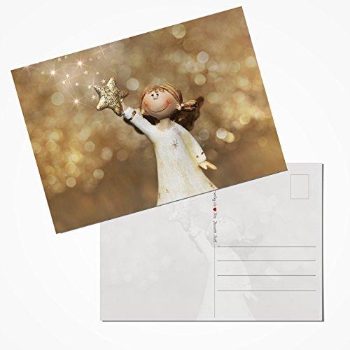 Logbuch-Verlag 20 tarjetas postales navideñas doradas y blancas con ángel de la guarda para niños, set de postales de Navidad, 10,5 x 14,8 cm