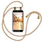 Moex - Cadena para teléfono móvil compatible con Huawei P8 Lite 2015 – Funda de silicona con banda – Funda transparente con cordón – Funda con cordón – intercambiable en oro