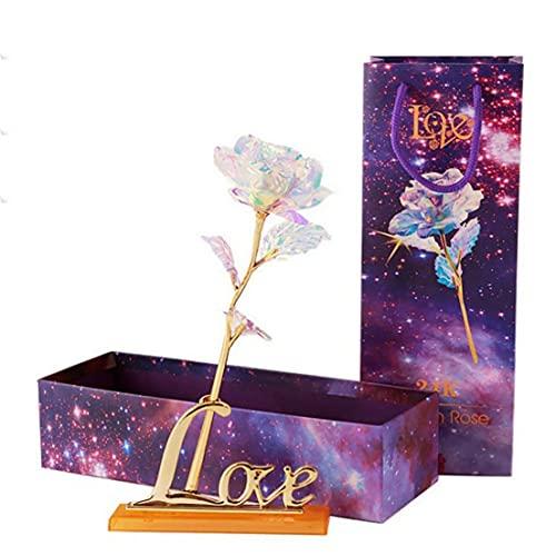 Libarty Simulación Eternidad Azul 24 K Lámina de Oro Flor Rosa Arco Iris Día de San Valentín Flor romántica Regalo de Boda Hermoso Led Luminoso
