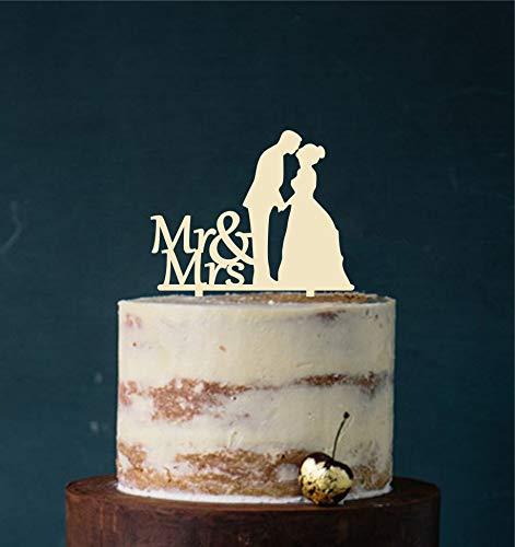 edelstahlheini.de Cake Topper, Tortenstecker, Tortefigur Acryl, Tortenständer - Farbwahl - Etagere Hochzeit Hochzeitstorte (Elfenbein)