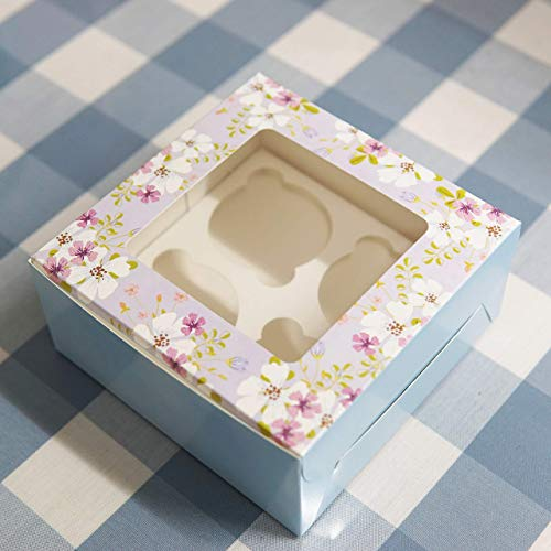 Accevo 15 Pezzi Scatola Biscotti, Porta Muffin, 16 x 16 x7.5 CM Mini Scatole per Torta, Adesivo di chiusura in omaggio, Con Finestra Trasparente per Quattro Cupcake