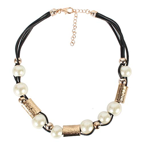 YAZILIND Fashion Large Imitation Pearl Woven Chain Necklace Female Clavicle Chain Choker Necklaces Jewelry Gift(Gold)