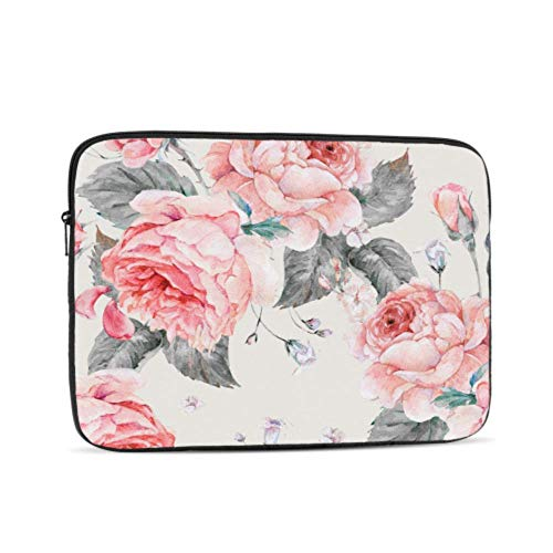 Laptop Protector Blooming English Rose Watercolor Case for MacBook Multi-Color & Size Choices 10/12/13/15/17 Inch Computer Tablet Briefcase Carrying Bag