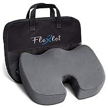 Flexlet ® Cojín de asiento ergonómico, varios grados de dureza para tu peso corporal, alivia la presión, bienestar para tu día a día, color gris, cojín para coxis [70 – 90 kg]