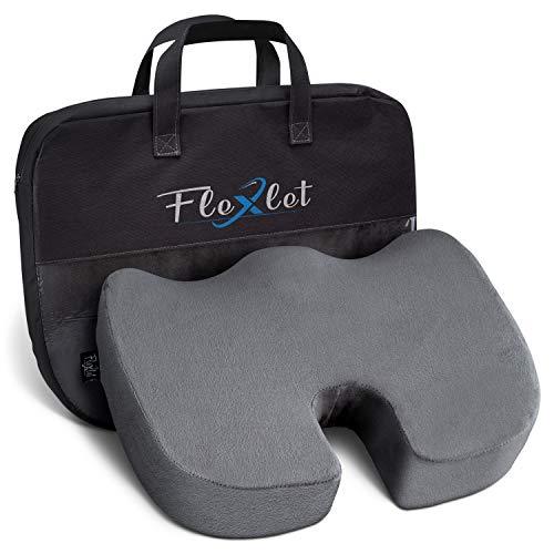 Flexlet ® Produktneuheit 2021 Sitzkissen ergonomisch – versch. Härtegrade für Ihr Körpergewicht, stark druckentlastend, Wellness für Ihren Alltag, Grau, Steißbeinkissen [90-120kg]