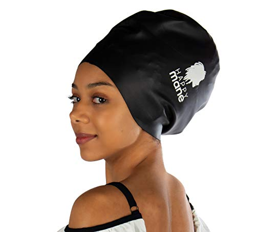 Happy Mane Premium Large Silicone Waterproof Swim Cap for Braids, Long Hair Dreadlocks, Extensions Mambo crochets or Afro Hair. for Men Women Youth Child Keeps Hair Clean Dry (Black, L)