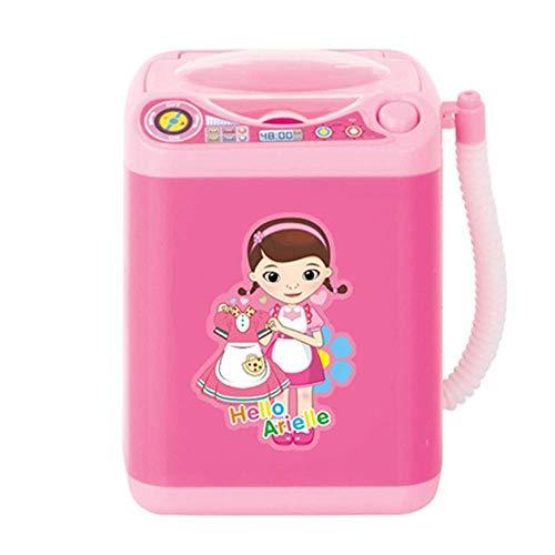 Hukz Kinderwaschmaschine Toy Mini Washing Machine, Miniatur Wäsche Spielset Waschmaschine Kinder Spielzeug, Kinder-Rollenspiele Haushaltsspielzeug Makeup Brush Cleaner Device (Rosa)