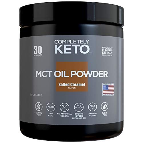 Completely Keto MCT Oil Powder from Fractionated Coconut C8 MCT Oil - Perfect Powdered MCT Keto Creamer for Coffee, Salted Caramel