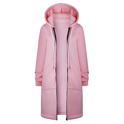 Abrigo de las señoras de otoño largo cremallera con capucha chaqueta con capucha chaqueta más tamaño