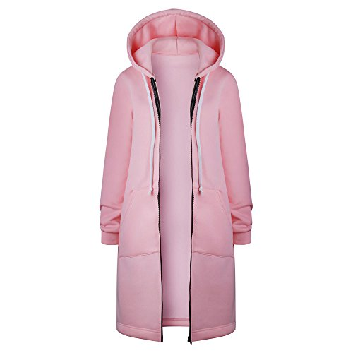 Yowablo Kapuzenpullover Sweatjacke Damen Strickjacke Casual Mantel Hoodie Zipper Hoodies Langer Manteljacke Oversized Coat Outwear (L,4- Rosa)