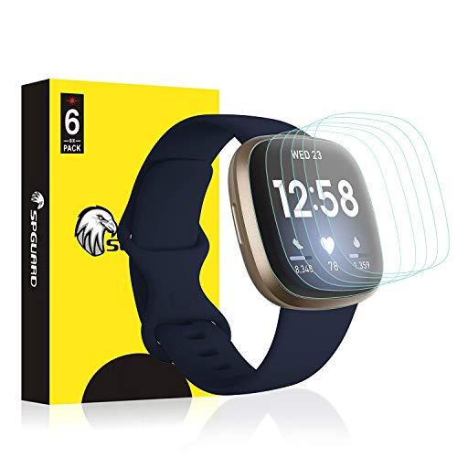 SPGUARD Schutzfolie Kompatibel mit Fitbit Versa 3 Schutzfolie Fitbit Sense Schutzfolie [6 Stück] LiQuidSkin Anti-Bubble Clear Film für Fitbit Versa 3/Fitbit Sense