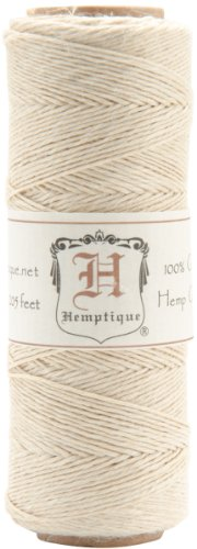 Hemptique 100% Natural Hemp Cord Single Spool - 205ft ~ 62.5m Hemp String Spool - Crafters Number 1 Choice - .5mm Cord Thread for Jewelry Making, Macramé, Scrapbooking, & More - Natural