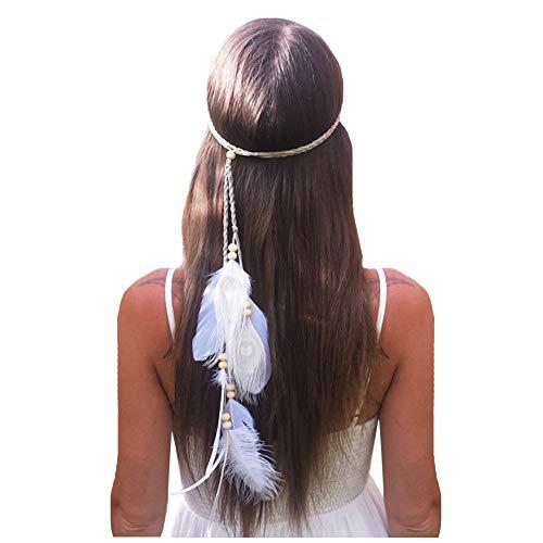 Feather Headband Hippie Indian Boho Hair Bands Tassel Bohemian Halloween Hair Hoop Women Girls Crown Hairband Party Decoration Headdress Cosplay Costume Headwear Headpiece Hair Accessories Headband