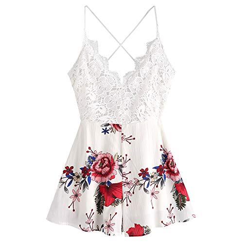 ZAFUL Damen Blumendruck Lace Panel Neckholder Zurückbinden Crop Tank Top und Shorts Set(Weiß,M)