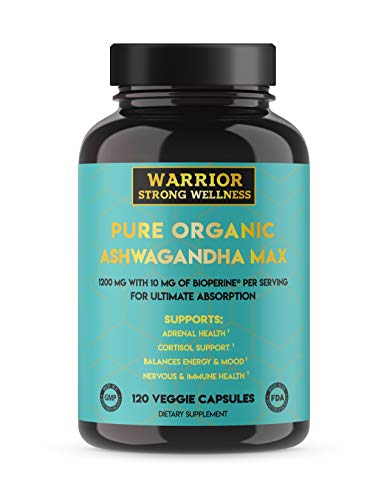 Ashwagandha Root Powder Capsules with Bioperine Pure Premium Organic 1200 mg 2 Month Supply 120 Caps Grief Thyroid Cortisol and Adrenal Fatigue Support