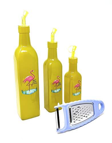 Kucly » Confezione da 3 – Oliera e acetiera salvagoccia in vetro con design moderno ed elegante, più grattugia per formaggio e pelapatate (giallo)