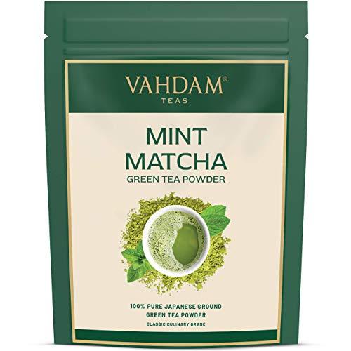 Vahdam Té verde Matcha de menta   Polvo de té Matcha 100% PURO de origen japonés   137x ANTIOXIDANTES   Aumento de energía y metabolismo   bajar de peso   SUPER ALIMENTO de Japón, 100 g (50 porciones)