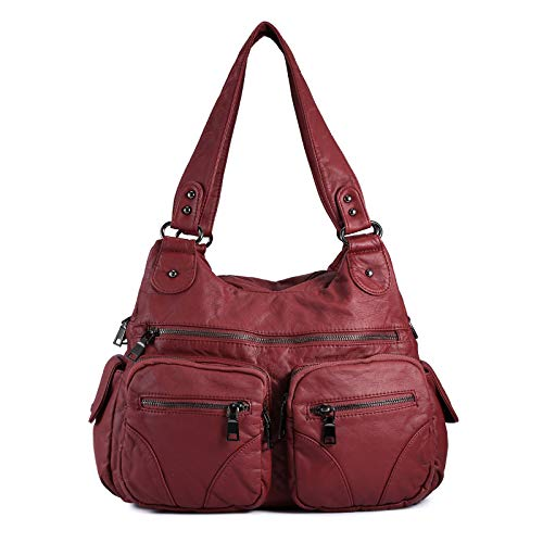 Bolso Bandolera Mujer de Cuero PU Gran Capacidad Bolso de Hombro Bolso Shopper Casual con Multi-Bolsillo Bolso de señora,Rojo