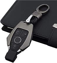 Odoland Smart Remote Key Fob Case Key Cover for Mercedes Benz B,C,E,S,GLK300,E260L CLA CLS ML GLA GLK GLC Class Keyless Key Fob(Gray,(Case+Vintage Style Chain)