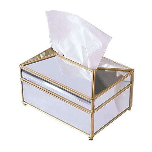 Xiaoli Caja para Pañuelos Espejo de Vidrio Caja de pañuelos Creativa Restaurante Tocador Sala de Estar Caja de Almacenamiento de Tejidos Decoración Caja de Pañuelos (Size : B)