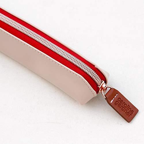 Caroline Gardner Schlankes Federmäppchen – Soft Pink Patent mit rotem Reißverschluss ...