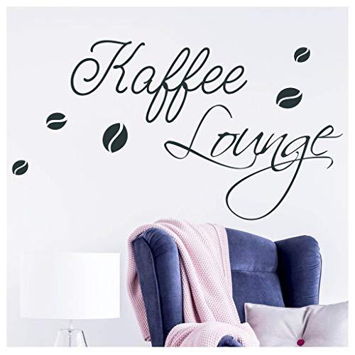 Wandtattoo Kaffee Lounge Wandaufkleber Küche Schriftzug / 24 schwarz / 35 cm hoch x 65 cm breit