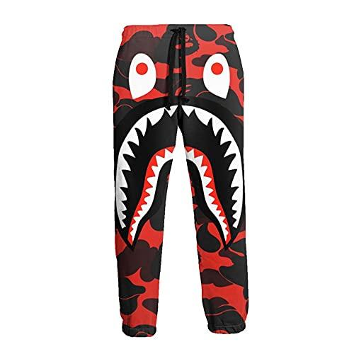 Inaayayi Pantaloni della tuta casual da uomo pantaloni allentati pantaloni atletici pantaloni yoga, 7 Bape Shark Denti Camo Rosso Kiska, M