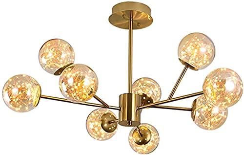 MQJ Lámpara Moderna Sputnik Chandelier Nordic Glass Bola Burbuja Cepillada Latón Colgante Colgante Molécula Rama Industrial Luz de Techo Luminaria con Hecho Hermano Sombra de Cristal,Dorado,9 Luz