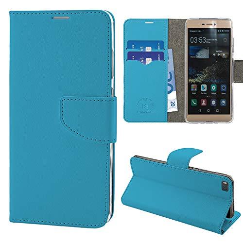 N NEWTOP Cover Compatibile per Huawei P8, HQ Lateral Custodia Libro Flip Chiusura Magnetica Portafoglio Simil Pelle Stand (Azzurra)